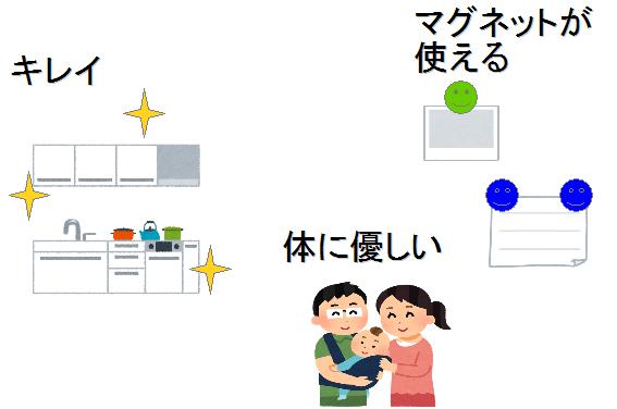 ホーロー キッチンパネル メリット