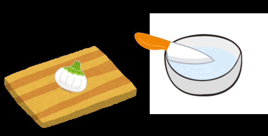 玉ねぎが目にしみない切り方 包丁を濡らす
