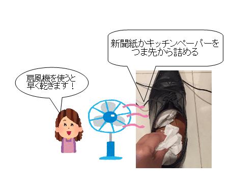 濡れた 革靴 乾かす 新聞紙