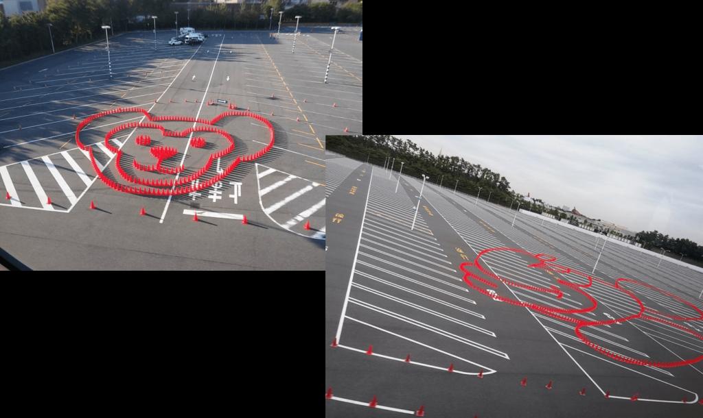 ディズニーの駐車場!コーンアート