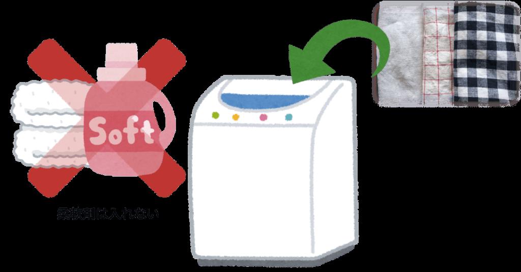 台所ふきんを洗うときは柔軟剤を使わないイラスト