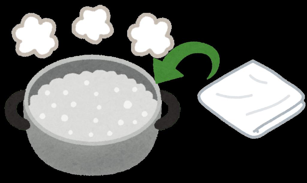 ふきんを煮沸消毒するイラスト
